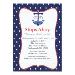 Anchor With Whales for Twin Baby Shower Invitation