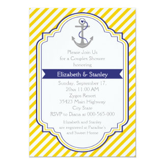 Anchor yellow nautical wedding couples shower 5x7 paper invitation card