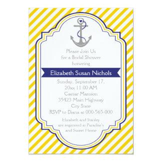 Anchor yellow white nautical wedding bridal shower card