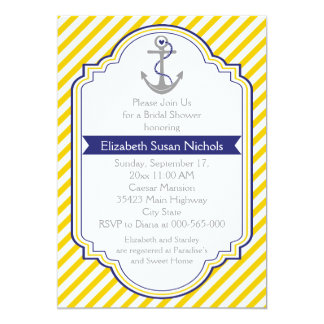 Anchor yellow white nautical wedding bridal shower 5x7 paper invitation card