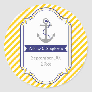 Anchor yellow white nautical wedding Save the Date Classic Round Sticker