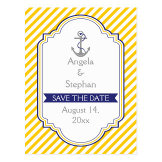Anchor yellow white nautical wedding Save the Date Postcard