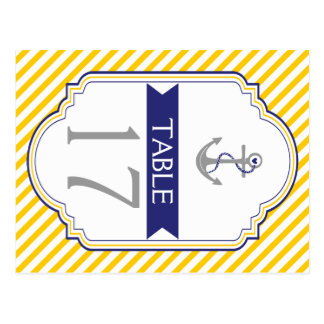 Anchor yellow, white nautical wedding table number post cards