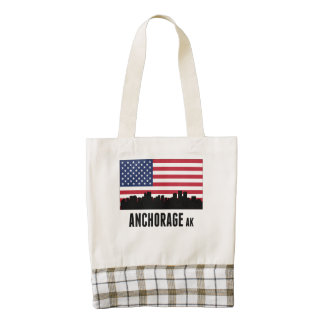 Anchorage AK American Flag Zazzle HEART Tote Bag