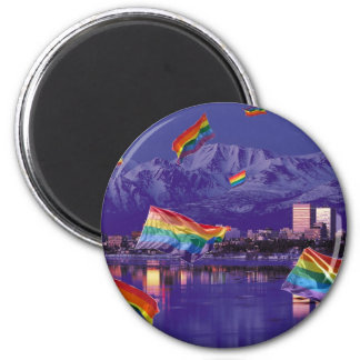 Anchorage, AK Flying Pride Magnet