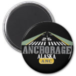 Anchorage Alaska - Airport Runway 2 Inch Round Magnet