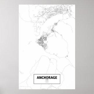 Anchorage, Alaska (black on white) Poster