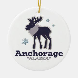 Anchorage Alaska blue moose winter Ceramic Ornament
