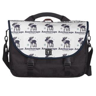Anchorage Alaska blue moose winter Laptop Bags
