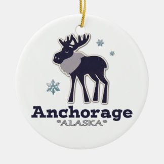Anchorage Alaska blue moose winter Double-Sided Ceramic Round Christmas Ornament
