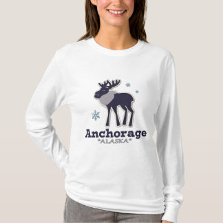 Anchorage Alaska blue moose winter T-Shirt