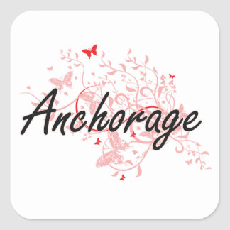 Anchorage Alaska City Artistic design with butterf Square Sticker
