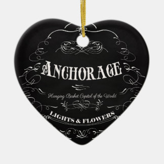 Anchorage Alaska - luces y flores Adorno De Cerámica En Forma De Corazón