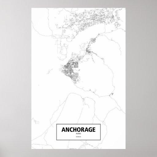 Anchorage, Alaska (negro en blanco) Póster