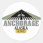 Anchorage Alaska - pista del aeropuerto Pegatina Redonda