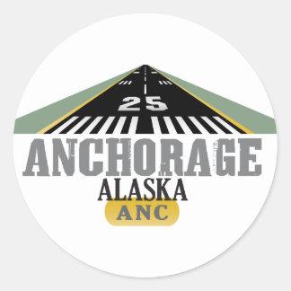 Anchorage Alaska - pista del aeropuerto Pegatinas Redondas