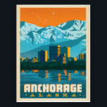 "Anchorage, Alaska Postcard<br><div class=""desc"">Anderson Design Group is an award-winning illustration and design firm in Nashville,  Tennessee. Founder Joel Anderson directs a team of talented artists to create original poster art that looks like classic vintage advertising prints from the 1920s to the 1960s.</div>"