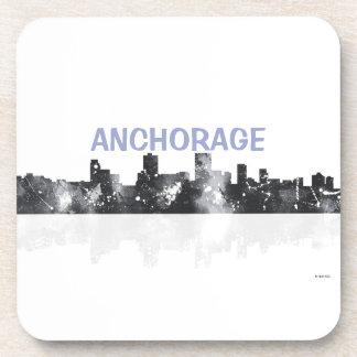 ANCHORAGE, ALASKA SKYLINE - drinks coasters