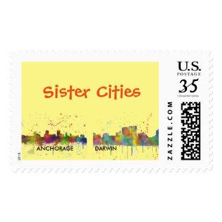 ANCHORAGE, ALASKA SKYLINE - Postage stamps
