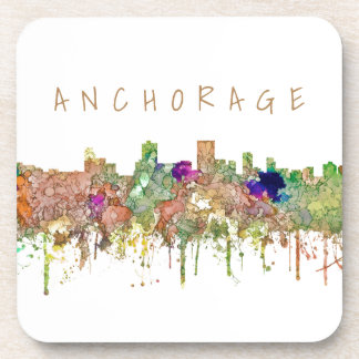 Anchorage Alaska Skyline SG-Faded Glory Beverage Coaster