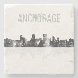 ANCHORAGE, ALASKA SKYLINE - Stone drinks coasters