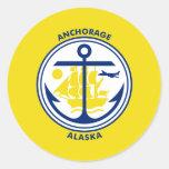 Anchorage, Alaska, United States flag Round Stickers