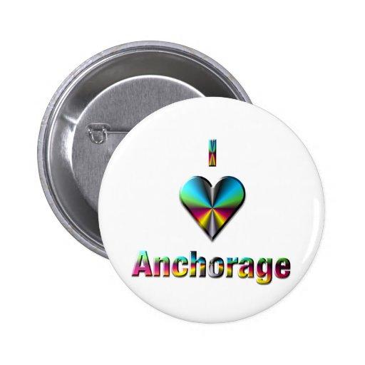 Anchorage -- Blue Green & Burgundy Button