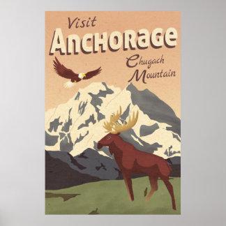 Anchorage Chugach Mountain Vintage Travel Poster