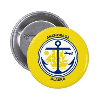 Anchorage city Alaska flag united states america s Pinback Button