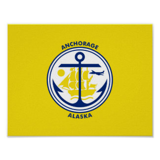 Anchorage city Alaska flag united states america s Poster