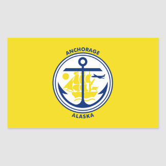 Anchorage city Alaska flag united states america s Rectangular Sticker