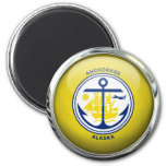 Anchorage Flag Glass Ball 2 Inch Round Magnet