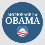 ANCHORAGE para el personalizado de Obama su ciudad Etiqueta Redonda