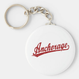 Anchorage script logo in red basic round button keychain