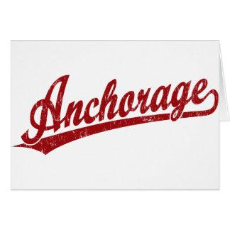 Anchorage script logo in red card