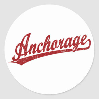 Anchorage script logo in red classic round sticker