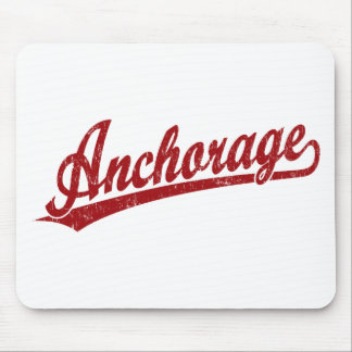 Anchorage script logo in red mouse pad