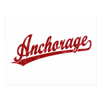 Anchorage script logo in red postcard