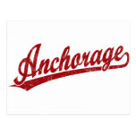 Anchorage script logo in red postcards