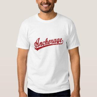 Anchorage script logo in red t-shirt