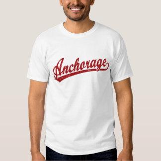 Anchorage script logo in red tee shirt
