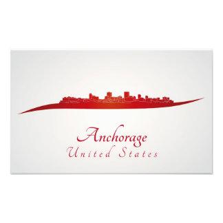 Anchorage skyline in network photo print