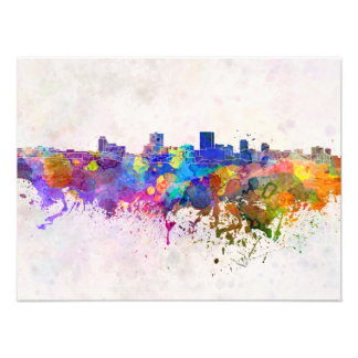 Anchorage skyline in watercolor background photo print