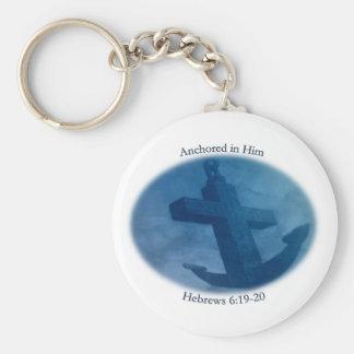 Anchored in Him Keychain