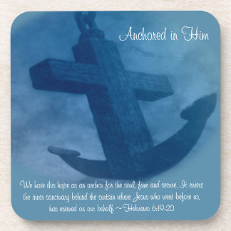 Anchored in Him Scripture Beverage Coaster