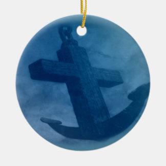 Anchored in Him Scripture Ceramic Ornament
