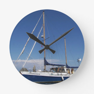Anchored In Southern Italy Round Wall Clock