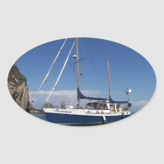 Anchored In Southern Italy Oval Sticker