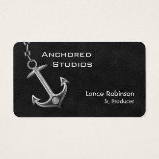Anchored Leather Textured Business Card