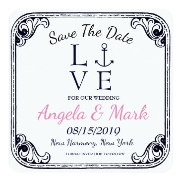 Beach Themed Anchored Love Vintage Retro Square Save the Date Card